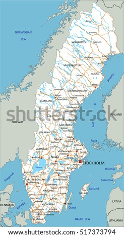 High Detailed Sweden Road Map Labeling Stock Vector 2018 517373794