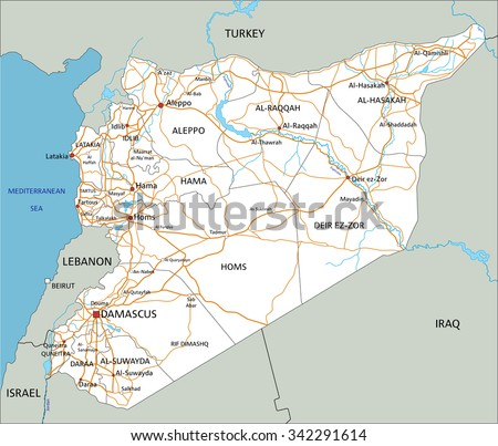 high detailed syria road map with labeling