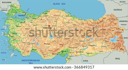 High Detailed Turkey Physical Map Labeling Stock Vector HD Royalty