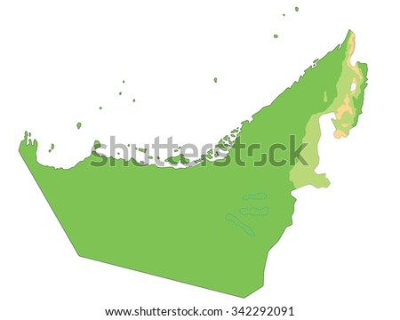 High detailed United Arab Emirates physical map. - stock vector
