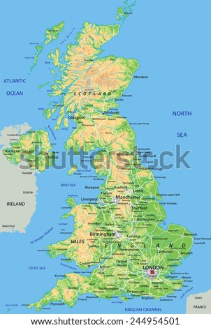 High detailed United Kingdom physical map with labeling. - stock vector