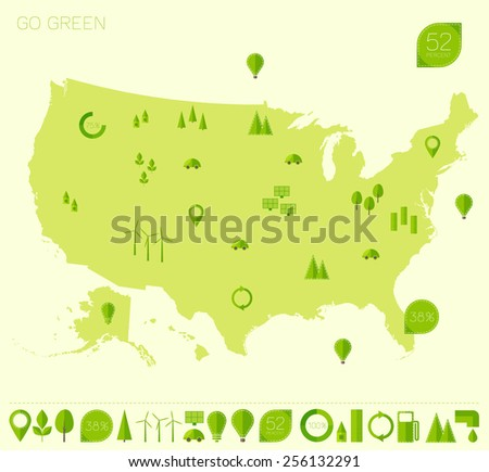 High Detailed United States Map Set Stock Vector - Us map flat