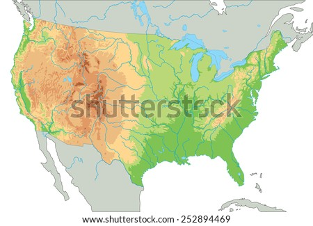 Detailed Relief Map Usa Retro Color Stock Vector - Us map no color