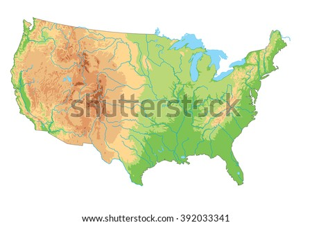 High detailed United States of America physical map. - stock vector