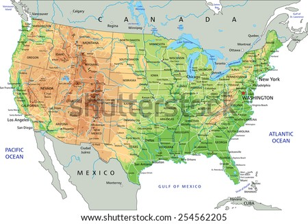 Retro Color Physical Map Usa Water Stock Vector - Physical map of usa