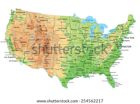 High Detailed United States America Physical Stock Vector - Detailed map of united states of america