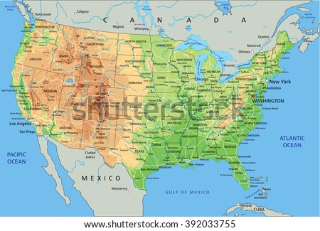 High detailed United States of America physical map with labeling. - stock vector