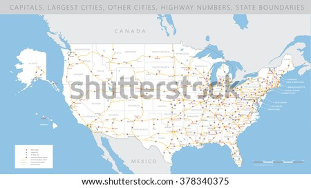 High detailed USA interstate road map vector  - stock vector