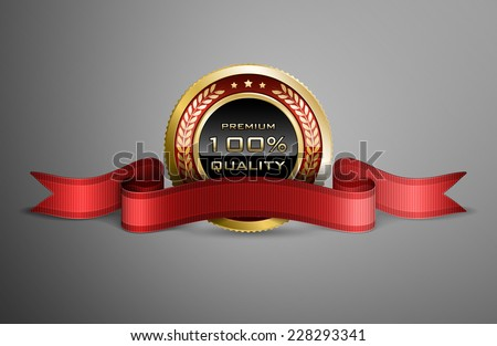 High detailed vector award ribbon isolated on dark gray background. - stock vector