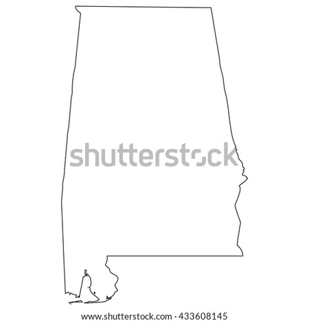High detailed vector contour map - Alabama