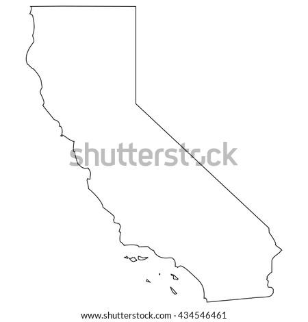 High detailed vector contour map - California - stock vector