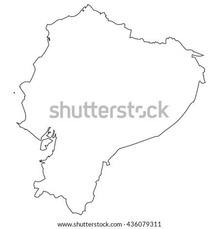 High detailed vector contour map - Ecuador - stock vector