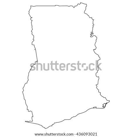 High detailed vector contour map - Ghana