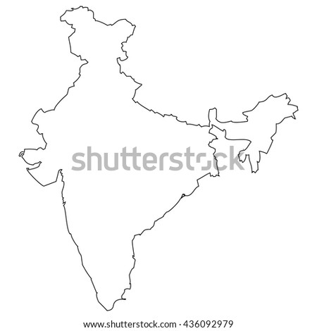 High detailed vector contour map - India