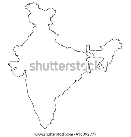 High detailed vector contour map - India - stock vector