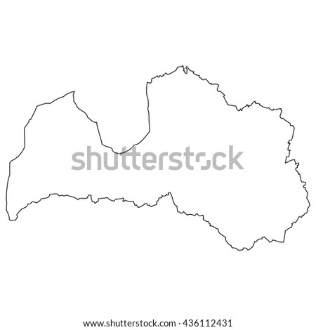 High detailed vector contour map - Latvia