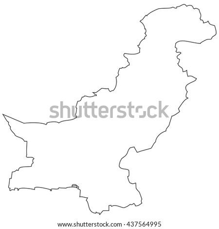 High detailed vector contour map - Pakistan - stock vector