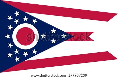 High detailed vector flag of Ohio - stock vector
