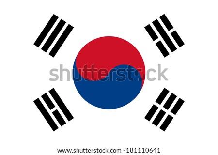 High detailed vector flag of South Korea - stock vector