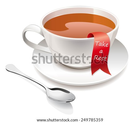 High detailed vector illustration of cup with spoon and ribbon isolated on white background - stock vector