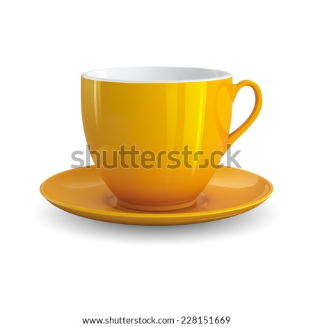 High detailed vector illustration of yellow cup isolated on white background - stock vector