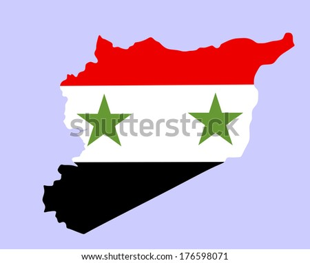 High detailed vector map and flag of Syria isolated on white background.  - stock vector