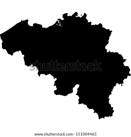 High detailed vector map - Belgium  - stock vector