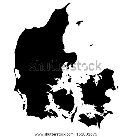 High detailed vector map - Denmark  - stock vector