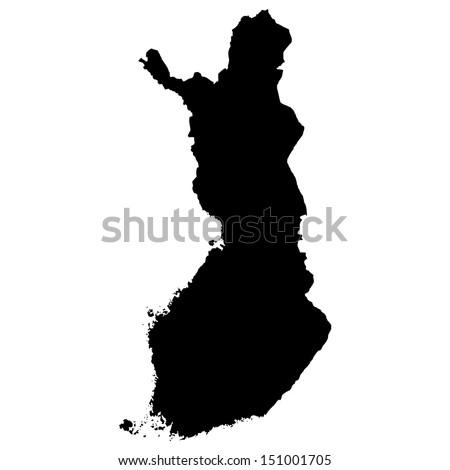High detailed vector map - Finland  - stock vector