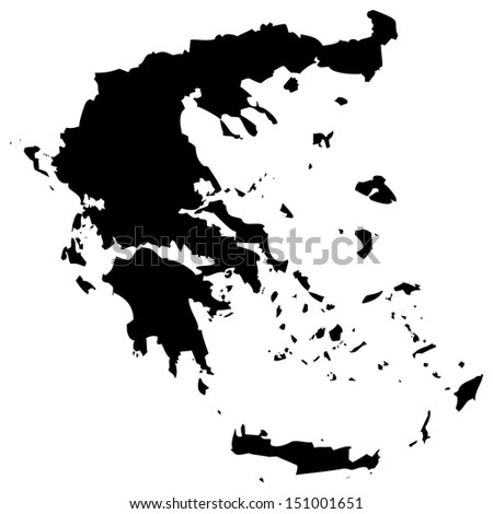 High detailed vector map - Greece  - stock vector