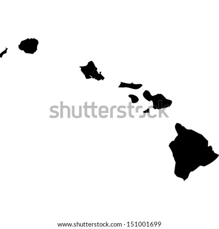High detailed vector map - Hawaii  - stock vector