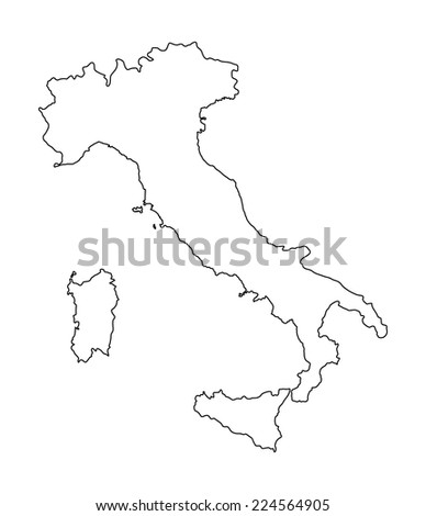 High detailed vector map - Italy isolated on white background. Outlined, contour.  - stock vector