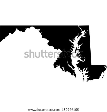 High detailed vector map - Maryland  - stock vector