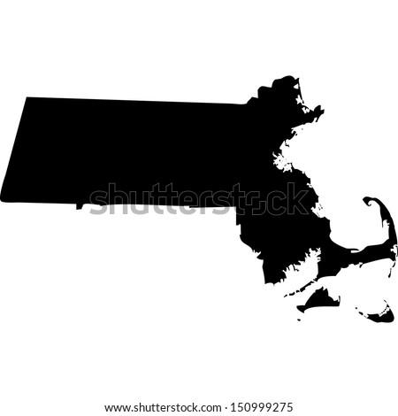 High detailed vector map - Massachusetts  - stock vector