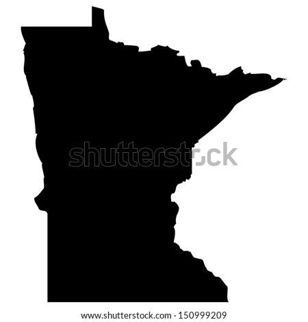 High detailed vector map - Minnesota  - stock vector
