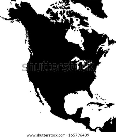 High detailed vector map - North America  - stock vector