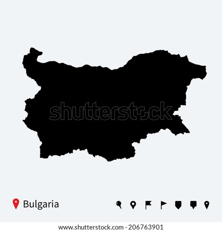 High detailed vector map of Bulgaria with navigation pins. - stock vector