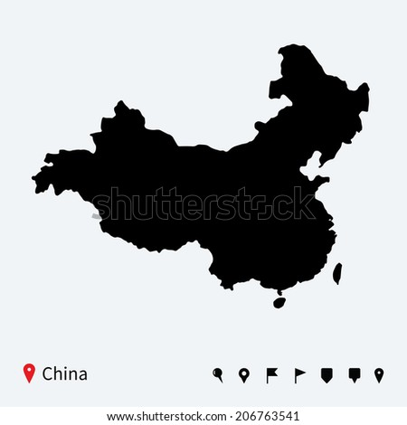 High detailed vector map of China with navigation pins. - stock vector