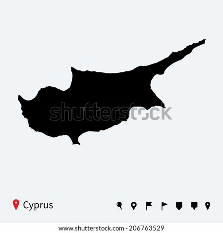 High detailed vector map of Cyprus with navigation pins.