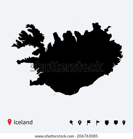 High detailed vector map of Iceland with navigation pins.