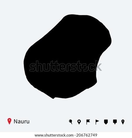 High detailed vector map of Nauru with navigation pins.