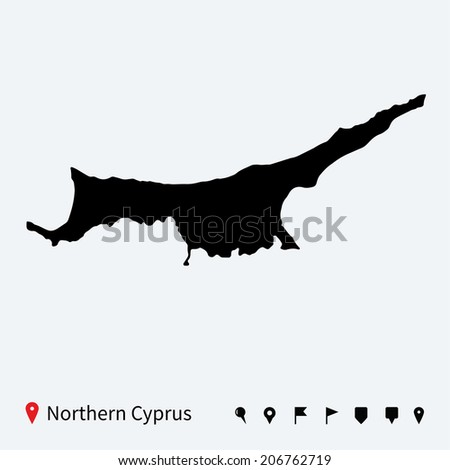 High detailed vector map of Northern Cyprus with navigation pins.