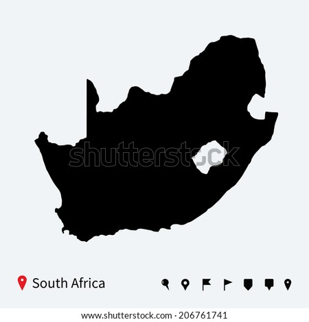 High detailed vector map of South Africa with navigation pins. - stock vector