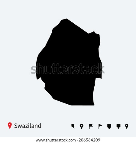 High detailed vector map of Swaziland with navigation pins. - stock vector