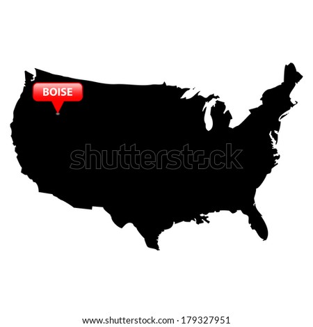 High detailed vector map over United States with the States Capital in red bubble - Boise, Idaho  - stock vector