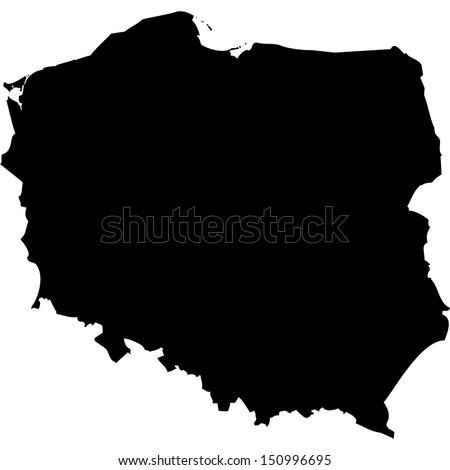 High detailed vector map - Poland  - stock vector