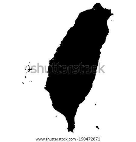 High detailed vector map - Taiwan  - stock vector