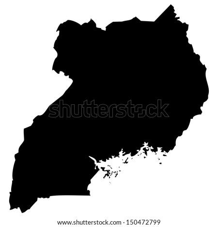 High detailed vector map - Uganda  - stock vector