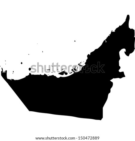High detailed vector map - United Arab Emirates  - stock vector
