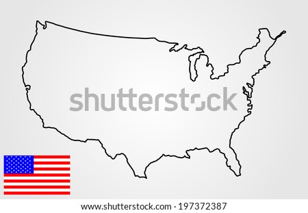 High Detailed Vector Map United States Black Silhouette Isolated On White Background American